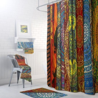Fabulous Bathroom Design Ideas With Boho Curtains06