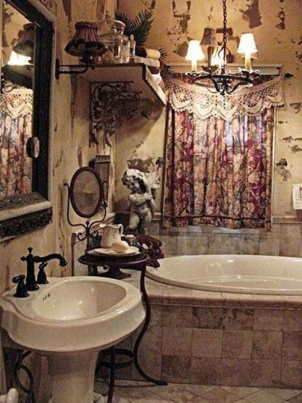 Fabulous Bathroom Design Ideas With Boho Curtains25