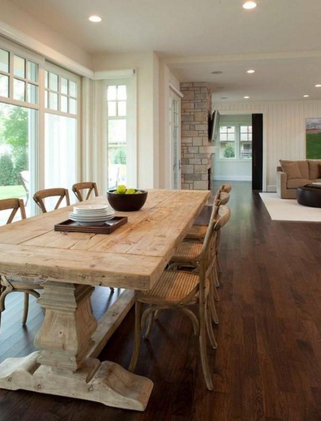 Pretty Farmhouse Table Design Ideas For Kitchen15
