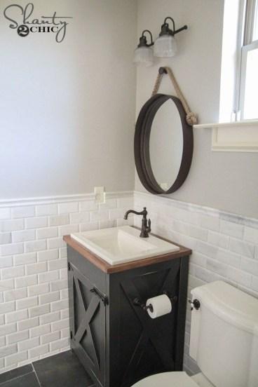 Vintage Farmhouse Bathroom Decor Design Ideas38