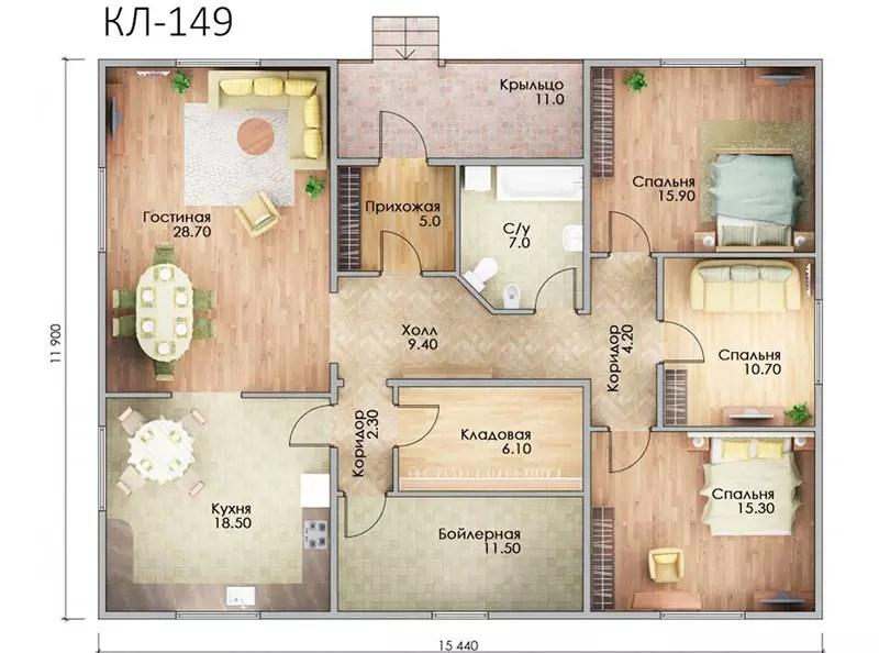 новым план одноэтажного дома с тремя спальнями фото съемке