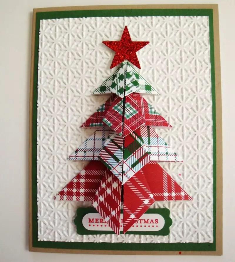 Пожелание добрым, елка оригами открытка