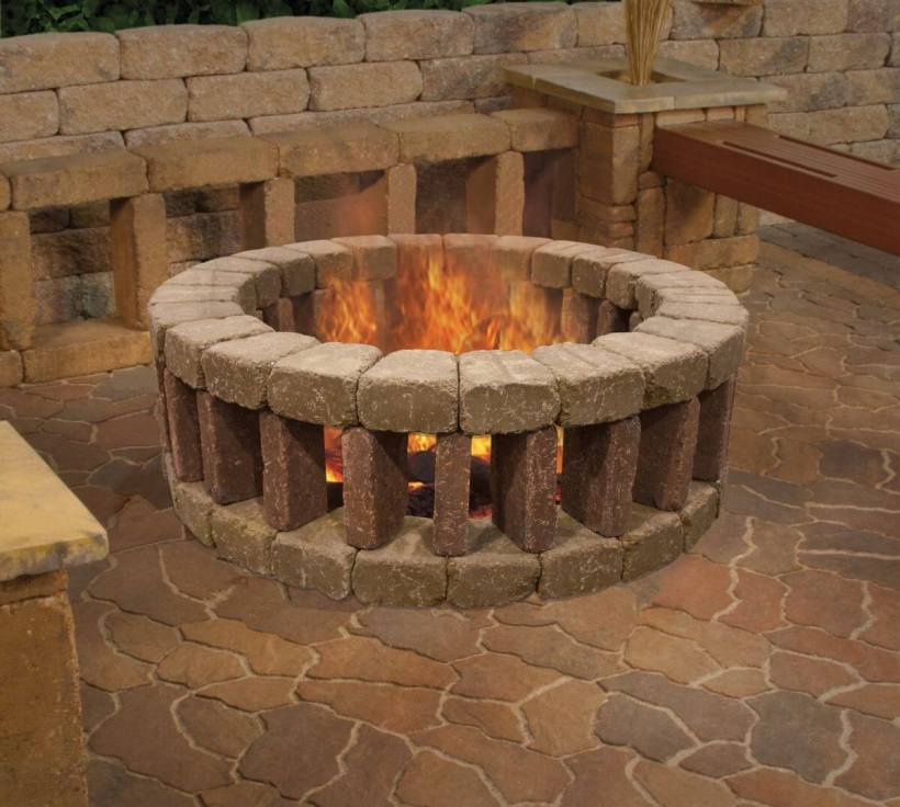 Fancy Brick Fire Pit with Brick Benches