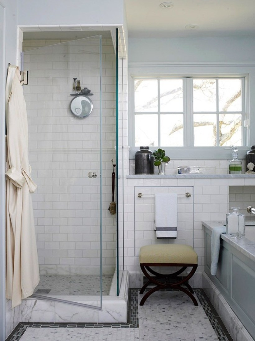 Small Walk In Showers With Subway Tile