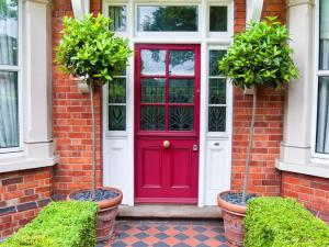 Classic Red and White Main Door