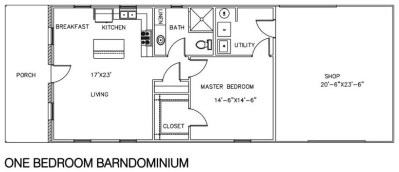 One Bedroom Bardominium with Shop