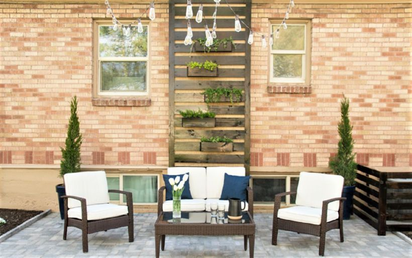Patio Decorated with DIY Wood Planter