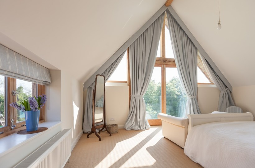 Charming Floor to Ceiling Windows with Pentagon Frame