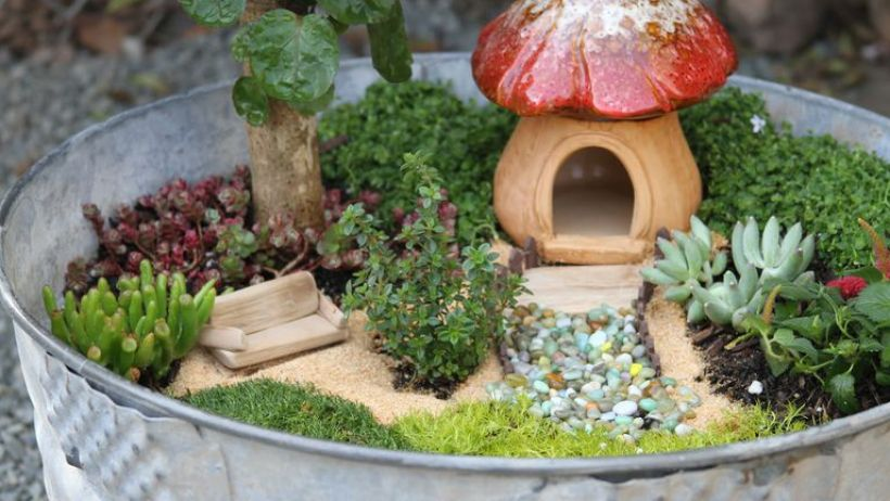 A Fairy Garden from a Wash Tub