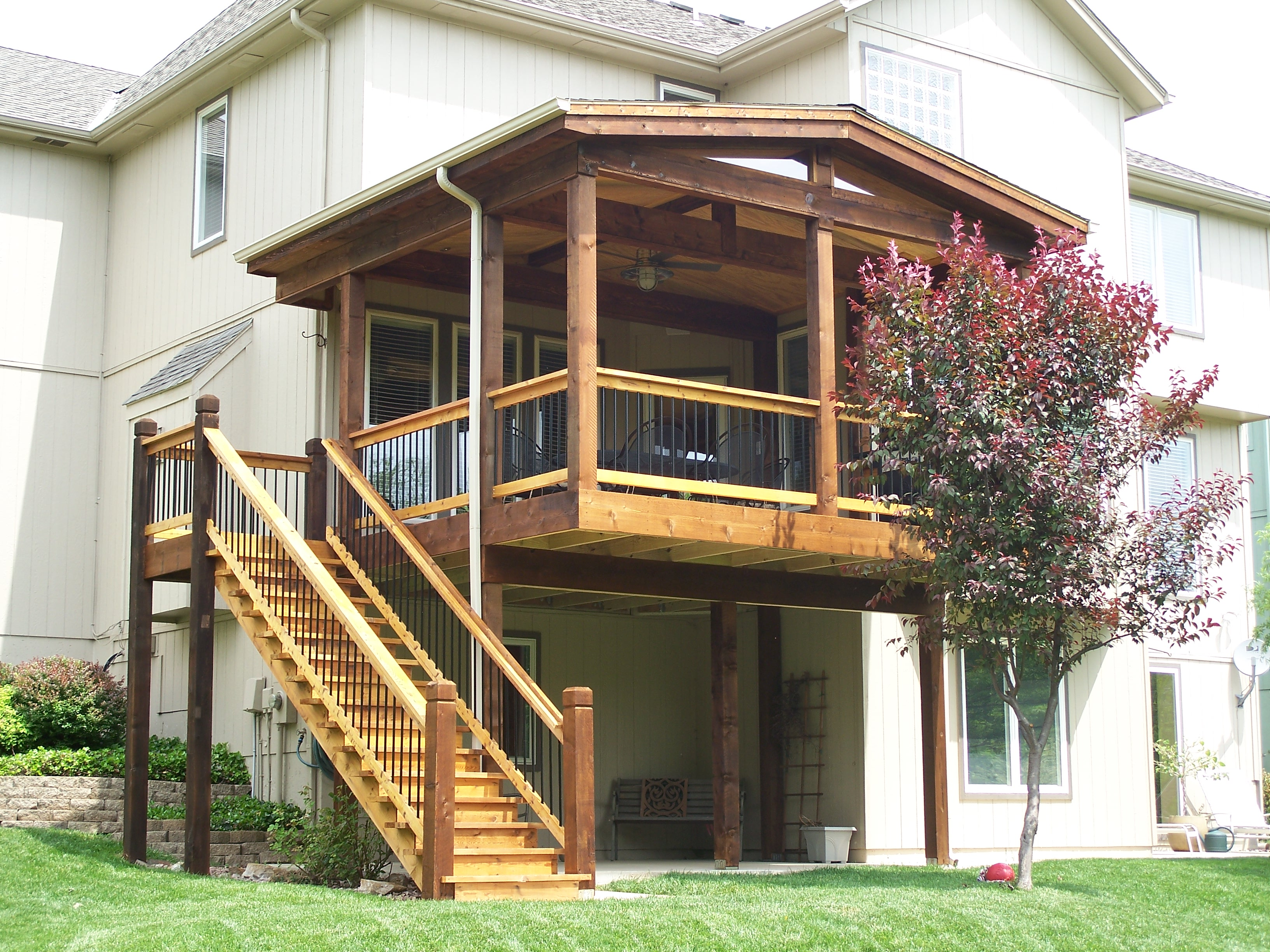 Great Ideas for Elevated Decks with Stairs That You'll ... on Deck Over Patio Ideas id=26722