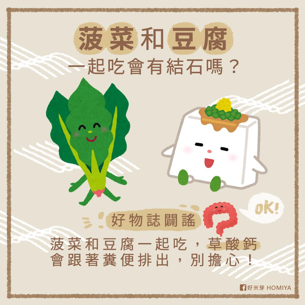 好物誌闢謠:菠菜和豆腐一起吃,草酸鈣會跟著糞便排出,別擔心!