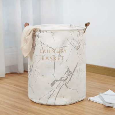 Collapsible Laundry Basket Marble (Statuario White)
