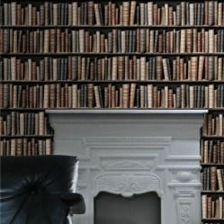 5. Papier peint imitation bibliothèque.