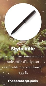 https://fr.abpconcept.paris/collections/stylos-luxe-cuir-alligator-crocodile-luxury-pens-leather-premium/products/stylo-bille-ballpoint-pen-cuir-leather-noir-black-alligator-crocodile-marron-fonce-dark-brow