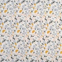 Tissus coton Terrazzo jaune et bleu, Mondial Tissus