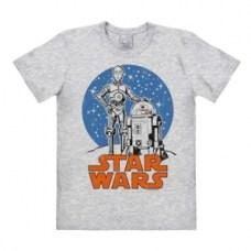 logoshirt t-shirtstarwars-droids-kriegdersterne-roboter-grau