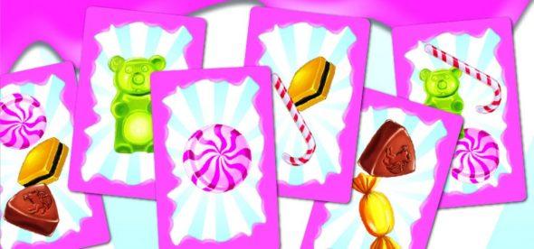Karten von Candy Match: Bonbons, Gummibärchen, Minzstange, etc.