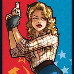 Cover von Secrets: Frau mit Pistole vor rot/blauem Hintergrund