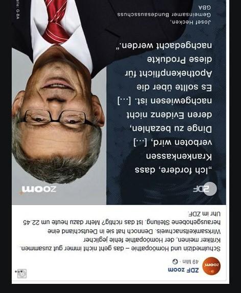 ZDF Zoom-Beitrag über Globuli wirkt wie ein politischer Frontalangriff auf Homöopathie als Arzneimittel, der alles auf Kopf stellen soll: Zitate der politischen Globuli-Gegner aus TV