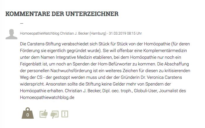 Prof. Walach und Petition von Dr. Güthlin fordern Carstens-Stiftung auf, die personelle Nachwuchsförderung der Homöopathie nicht einzustellen