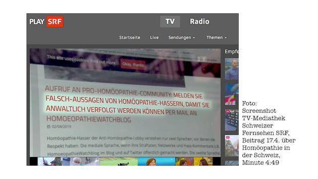 Schweizer Fernsehen SRF warnt vor Homoeopathiewatchblog - in TV-Bild und Ton und online