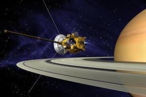 Καλλιτεχνική απεικόνιση της διαστημοσυσκευής Cassini σε τροχιά γύρω από τον Κρόνο (Κοινό Κτήμα της NASA, https://images.nasa.gov)