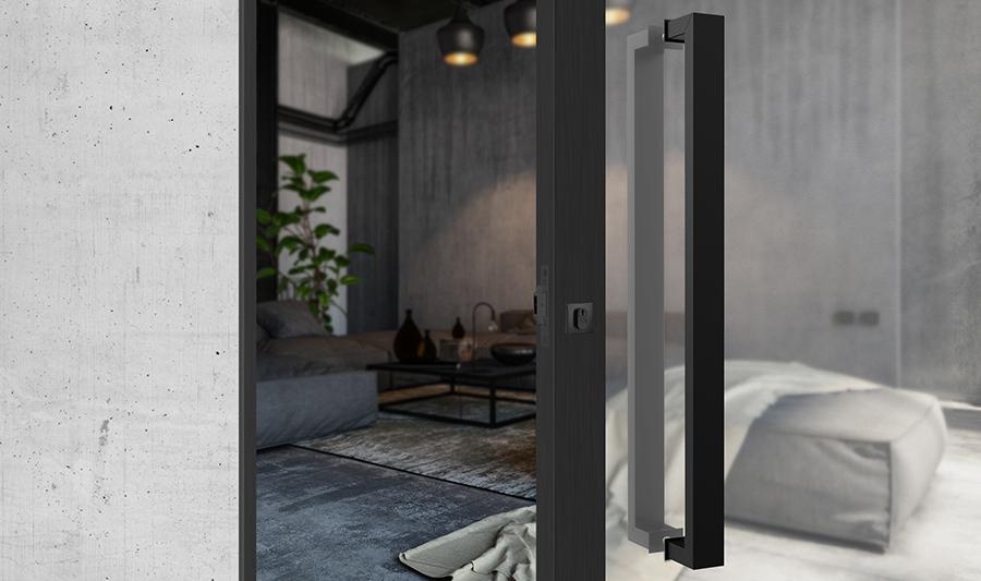 porta-de-correr-de-vidro-com-puxador-preto-decoração-estilo-industrial