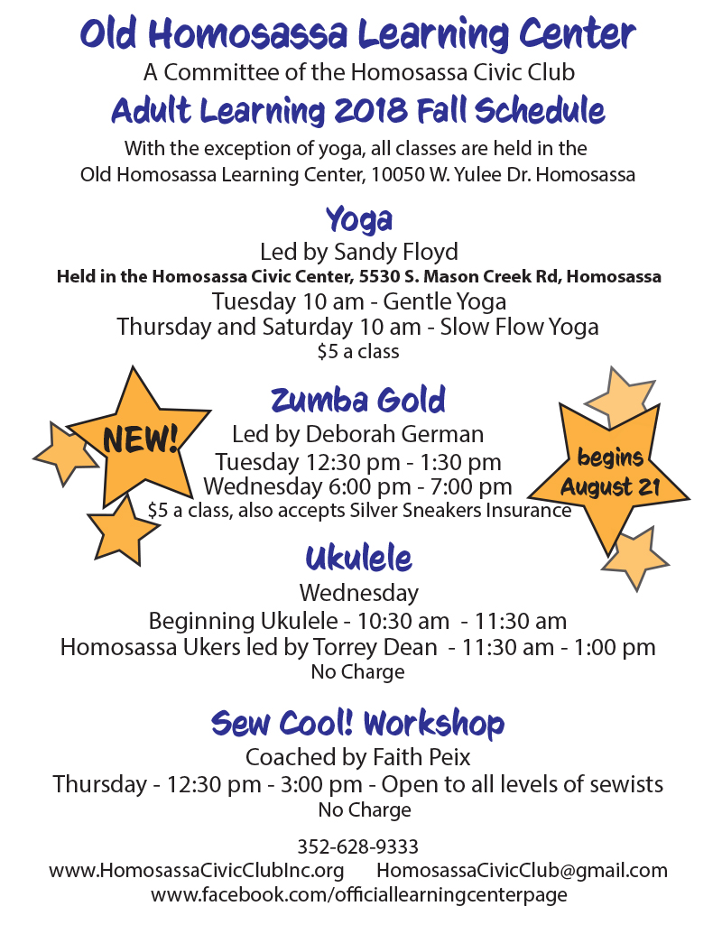 Old Homosassa Learning Center Adult Learning 2018 Fall Schedule