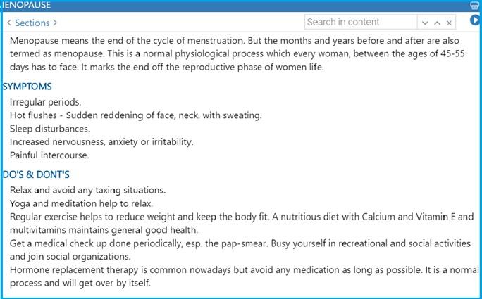 Menopause Zomeo - Homeopathy Software