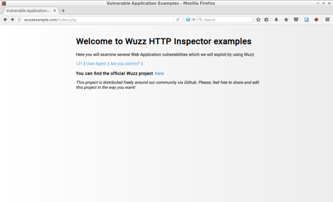 Wuzz example site