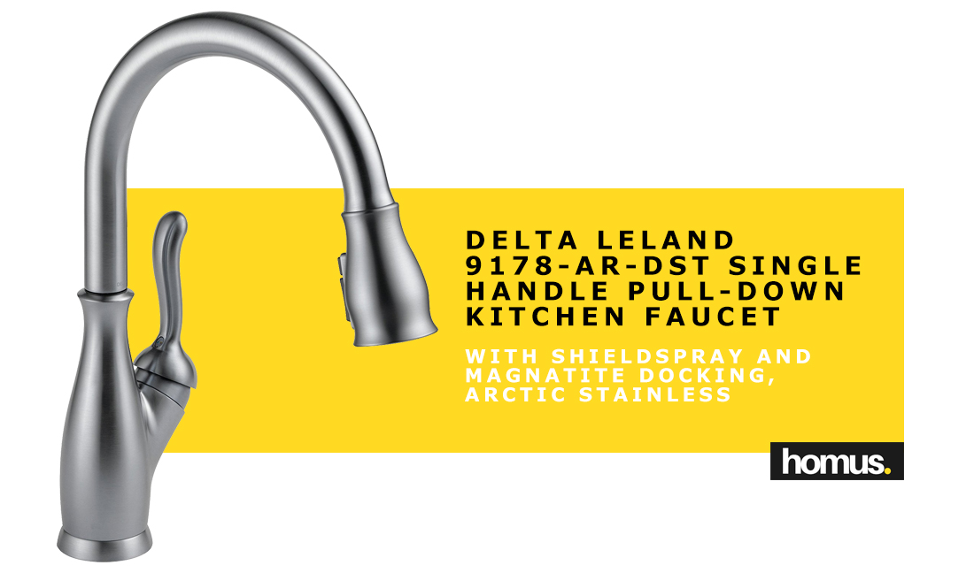 Delta Leland 9178-AR-DST Single Handle Pull-Down Kitchen Faucet with ShieldSpray and MagnaTite Docking, Arctic Stainless