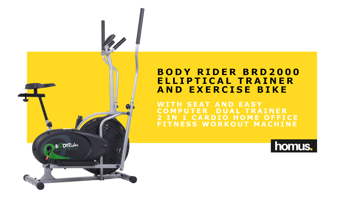 Body Rider BRD2000 Elliptical Trainer and Exercise Bike with Seat and Easy Computer Dual Trainer 2 in 1 Cardio Home Office Fitness Workout Machine