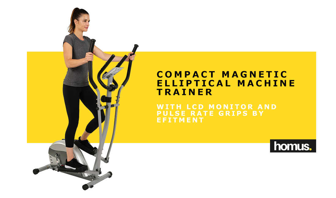 Compact MagnCompact Magnetic Elliptical Machine Trainer with LCD Monitor and Pulse Rate Grips by EFITMENTetic Elliptical Machine Trainer with LCD Monitor and Pulse Rate Grips by EFITMENT copy