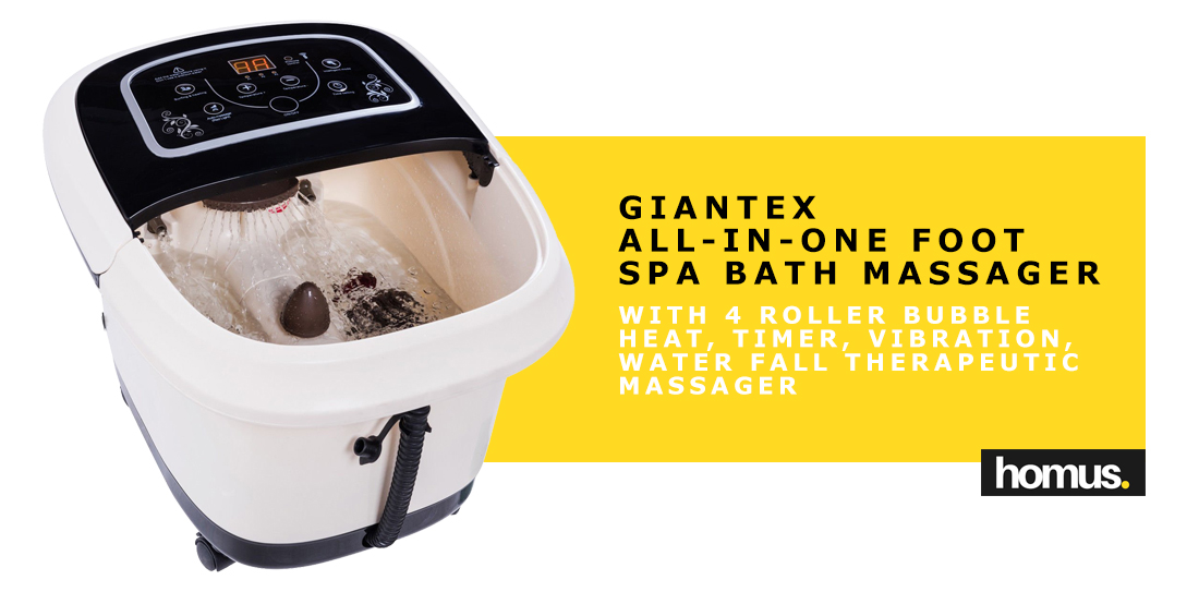 Giantex All-In-One Foot Spa Bath Massager W 4 Roller Bubble Heat Lights
