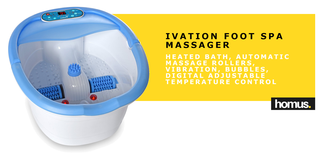 Ivation Foot Spa Massager - Heated Bath, Automatic Massage Rollers, Vibration, Bubbles, Digital Adjustable Temperature Control