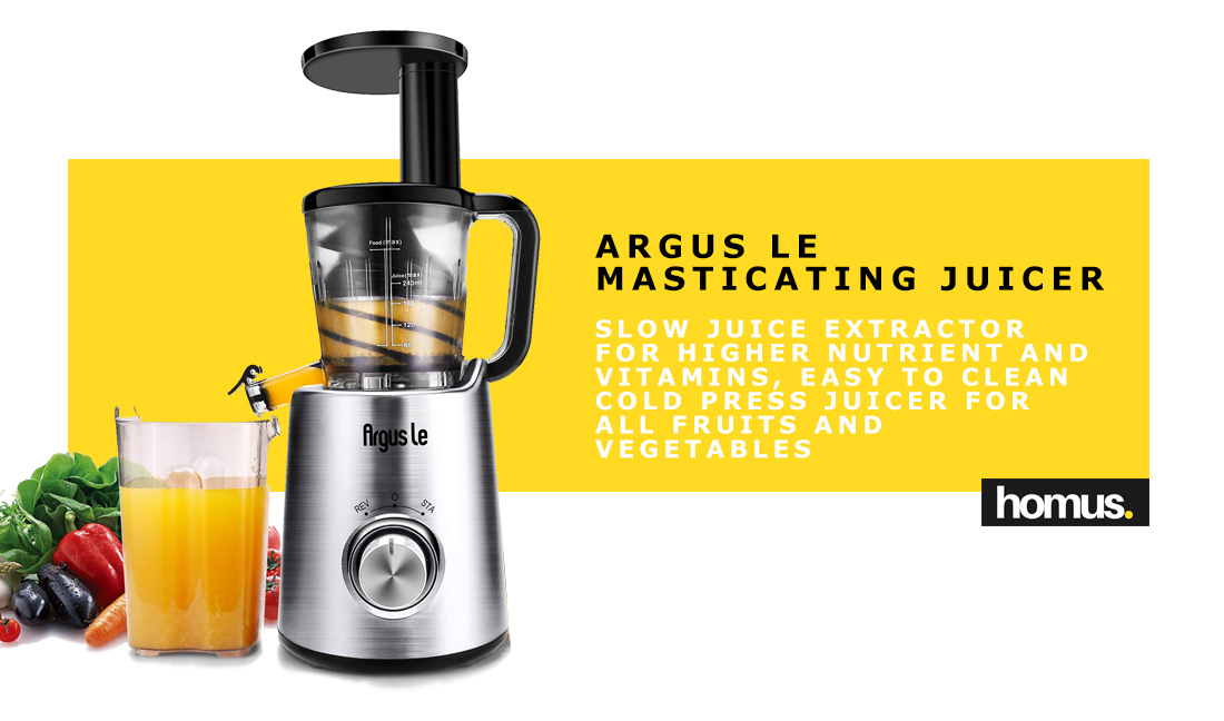 Argus Le Masticating Juicer, Slow Juice Extractor for Higher Nutrient and Vitamins, Easy to Clean Cold Press Juicer for All Fruits and Vegetables