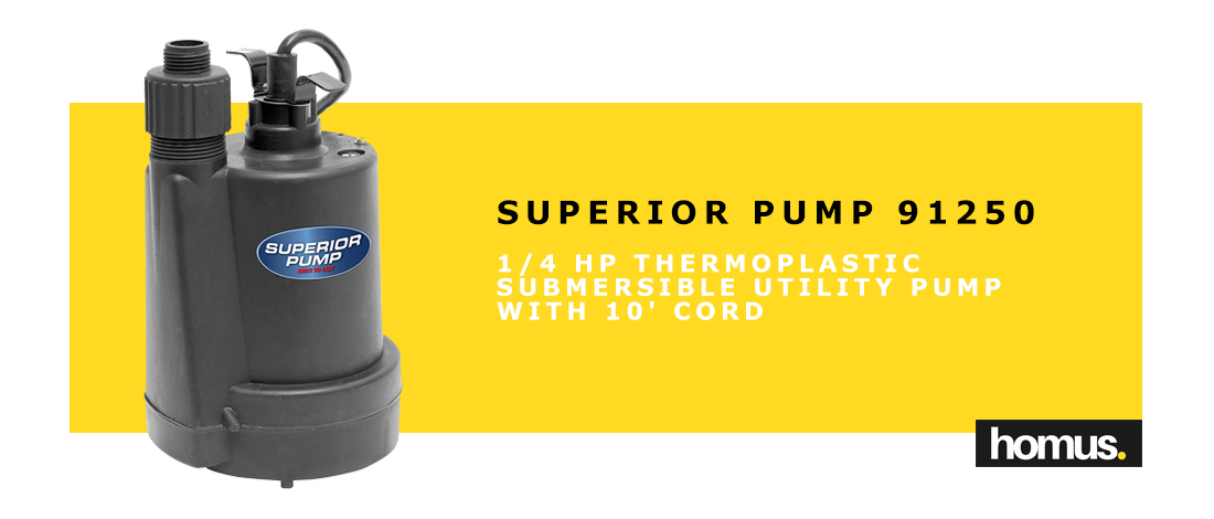 Superior Pump 91250 1_4 HP Thermoplastic Submersible Utility Pump with 10-Foot Cord