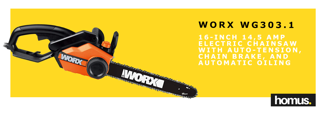 Worx 16-Inch 14,5 Amp Electric Chainsaw with Auto-Tension, Chain Brake, and Automatic Oiling – WG303_1