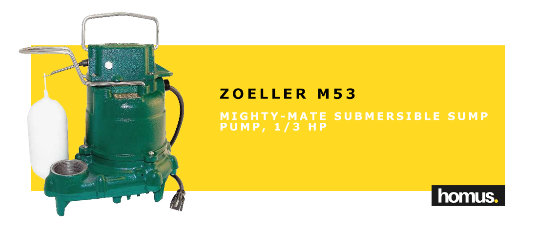 Zoeller M53 Mighty-mate Submersible Sump Pump, 1_3 Hp