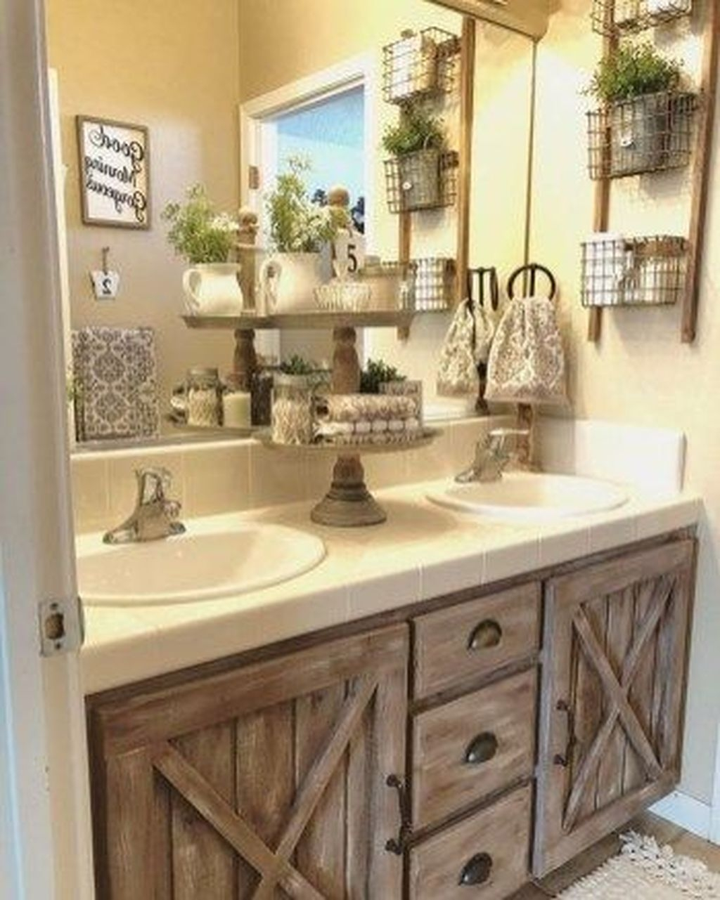 44 Affordable Farmhouse Bathroom Design Ideas - HOMYHOMEE on Farmhouse Bathroom Ideas  id=69420