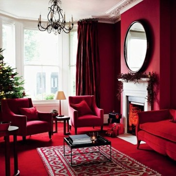 Sweet Living Room Decor Ideas With Red Color For Valentines Day 31