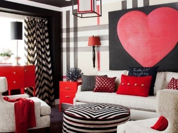 Sweet Living Room Decor Ideas With Red Color For Valentines Day 32