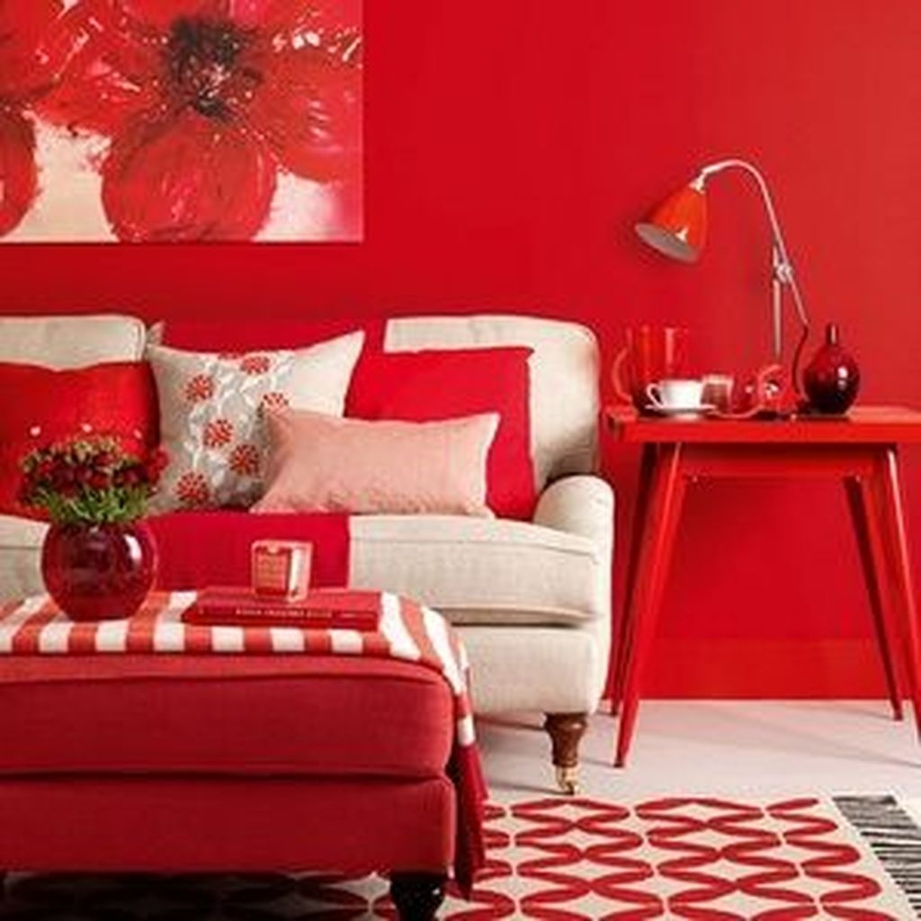 Sweet Living Room Decor Ideas With Red Color For Valentines Day 33
