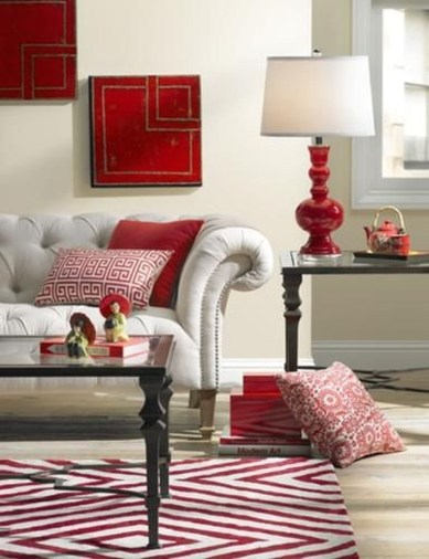 Sweet Living Room Decor Ideas With Red Color For Valentines Day 34