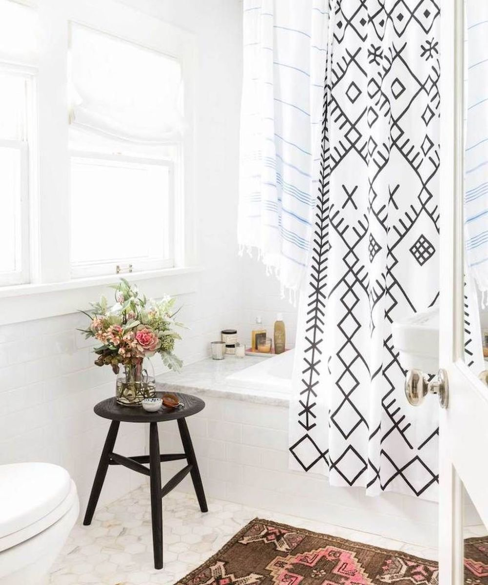 Amazing Black And White Shower Curtain For Your Bathroom Decor 03