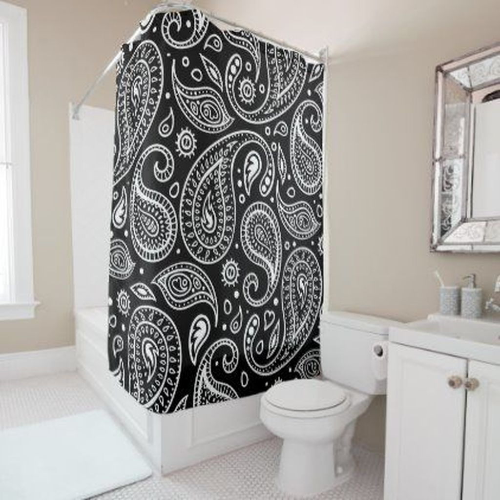Amazing Black And White Shower Curtain For Your Bathroom Decor 12