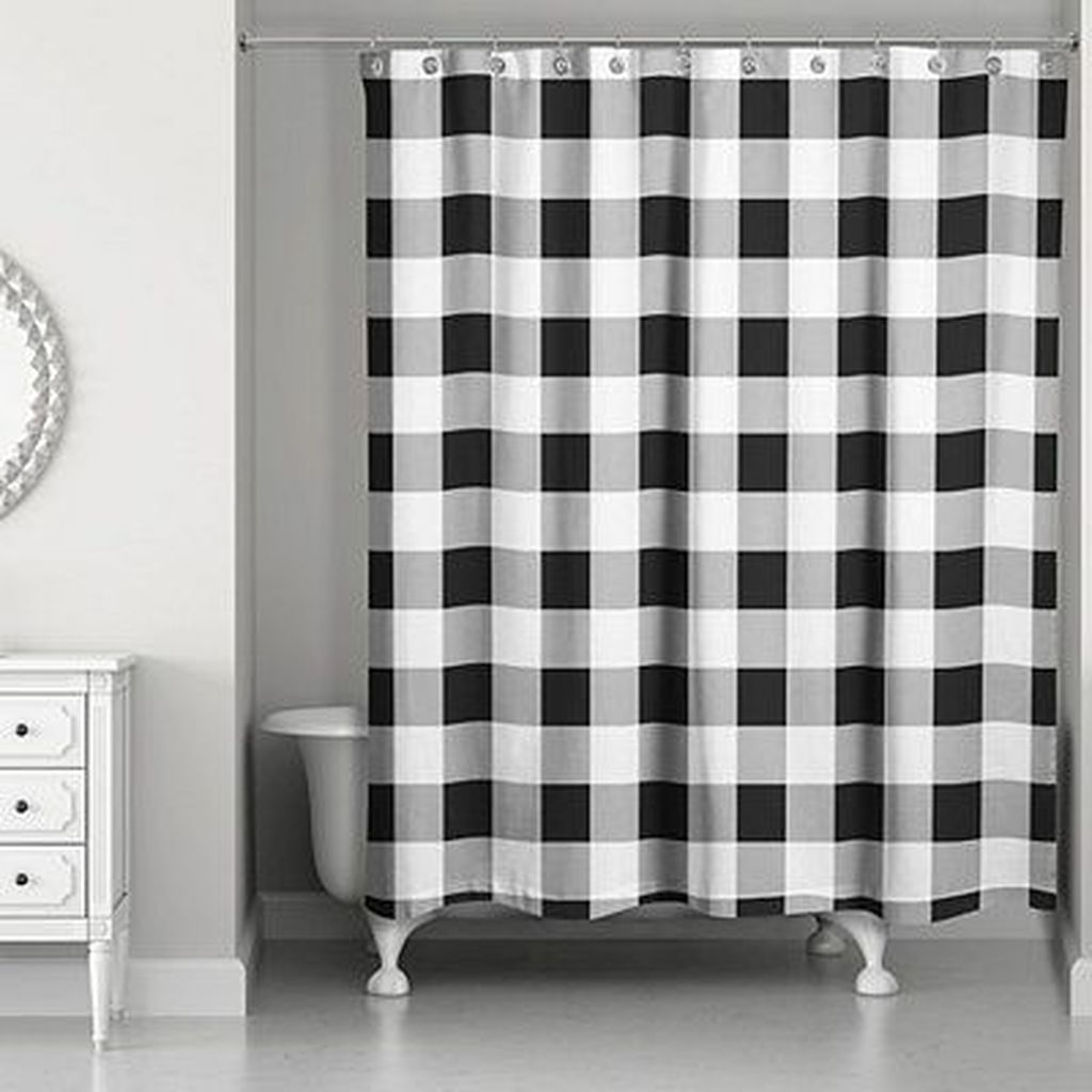 Amazing Black And White Shower Curtain For Your Bathroom Decor 26