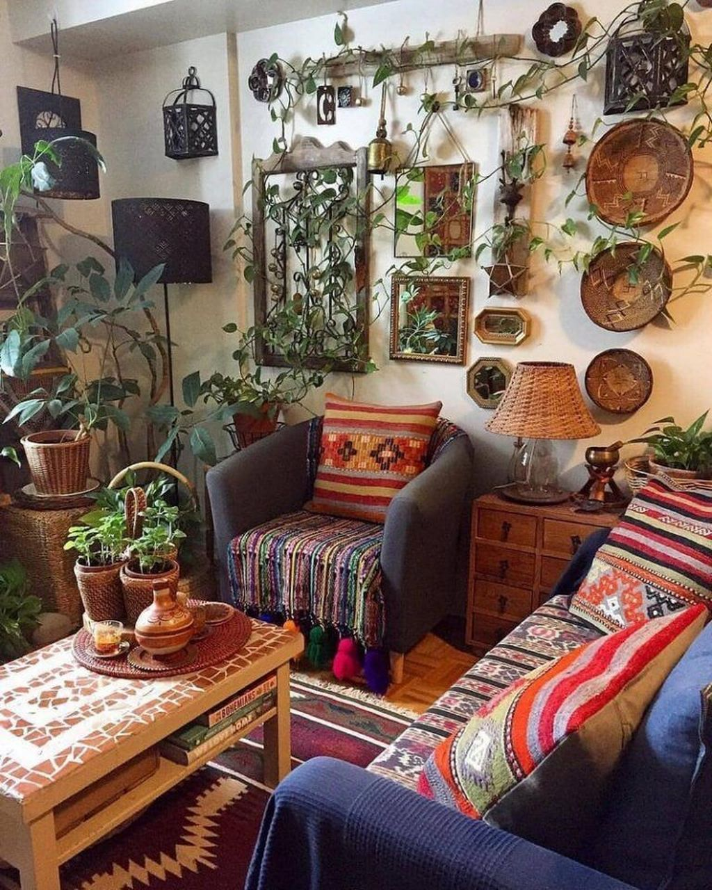 The Best Rustic Bohemian Living Room Decor Ideas 20