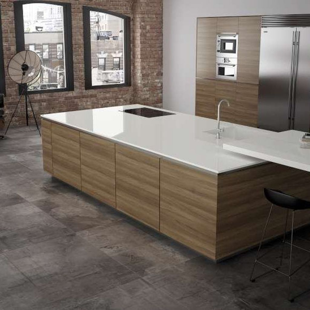 Beautiful Kitchen Design Ideas With Porcelain Slab Countertop 22