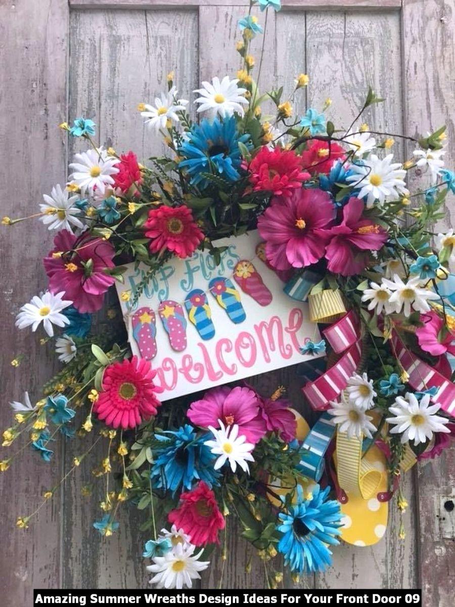 Amazing Summer Wreaths Design Ideas For Your Front Door 09